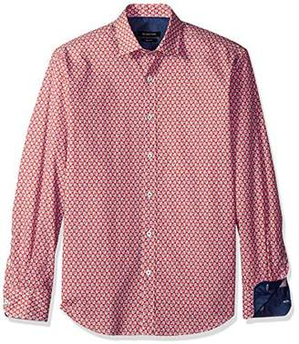 Bugatchi Men's Fitted Printed Cotton Point Collar Shirt