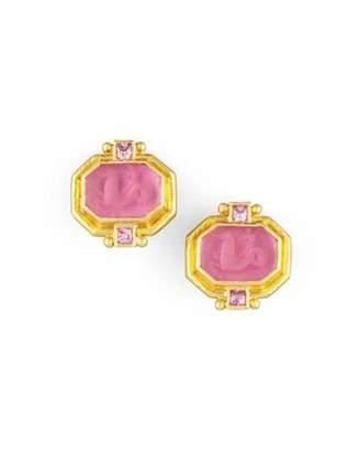 Elizabeth Locke Cherub & Sea Horse Intaglio Clip/Post Earrings, Pink