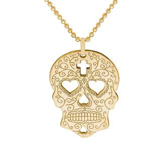 CarterGore - Gold Sugar Skull with Heart Eyes Pendant Necklace