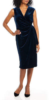 Maggy London Cap-Sleeve Velvet Wrap Dress