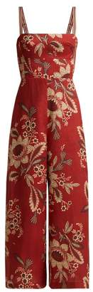 Zimmermann Juno Floral Print Linen Jumpsuit - Womens - Red Print