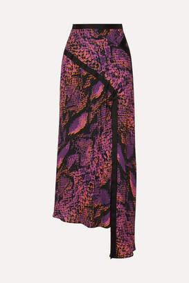 House of Holland Asymmetric Snake-print Crepe De Chine Maxi Skirt - Pink