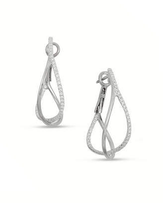 Frederic Sage 18K White Gold Diamond Crossover Hoop Earrings