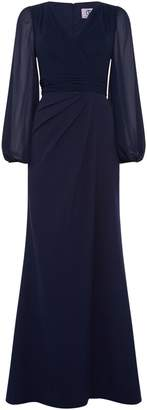 JS Collections V neck long sleeve gown