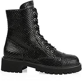 Giuseppe Zanotti Women's Snake-Embossed Leather Combat Boots
