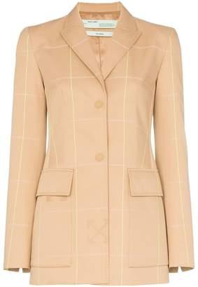 Off-White fluorescent check print mid-length blazer jacket