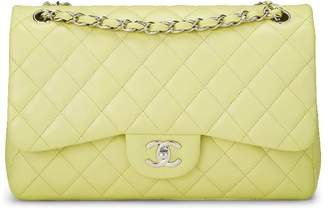 Chanel Green Quilted Lambskin New Classic Double Flap Jumbo