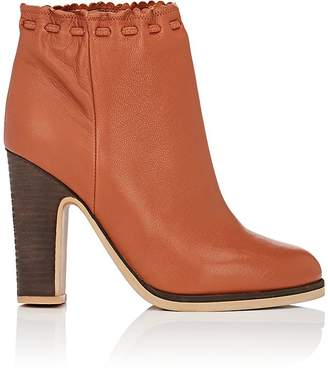 See by Chloe WOMEN'S SCALLOPED-DETAIL LEATHER ANKLE BOOTS