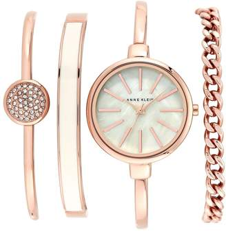 Anne Klein Round Watch & Bangle Set, 32mm