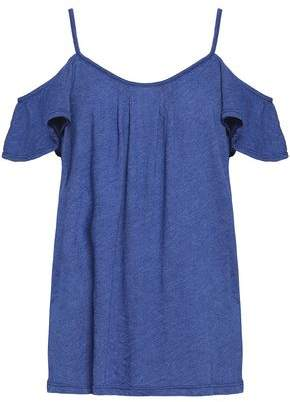 Joie Cold-Shoulder Pleated Cotton-Blend Jersey Top