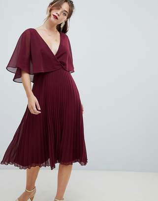 Asos Design DESIGN midi dress with pleat skirt and flutter sleeve