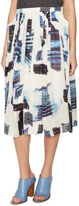 Tibi Oki Origami Silk Midi Skirt