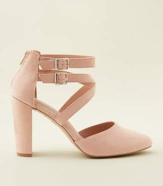 New Look Wide Fit Nude Comfort Flex Suedette Strappy Courts