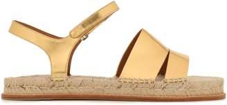 Emporio Armani Metallic Leather Espadrille Sandals