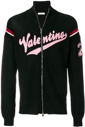Valentino logo patch zip cardigan