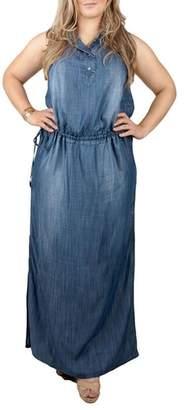 Standards & Practices Makayla Denim Drawstring Maxi Dress