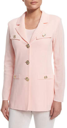 Misook Dressed Up Button-Front Jacket, White, Plus Size