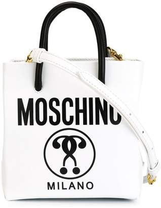 Moschino double question mark print tote
