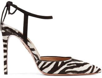 Aquazzura Candance Suede-trimmed Zebra-print Calf Hair Pumps - Zebra print