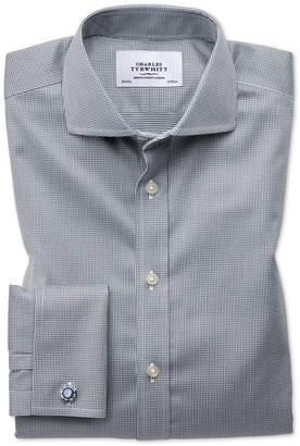 Charles Tyrwhitt Slim Fit Spread Collar Non-Iron Puppytooth Dark Grey Cotton Dress Shirt French Cuff Size 15/34
