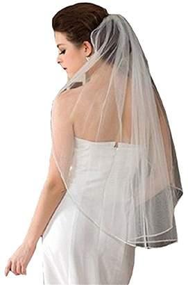 LIURU.DRESS Bridal Wedding Veil Ivory 1 Tier Long Elbow Length With Rhinestone Edge