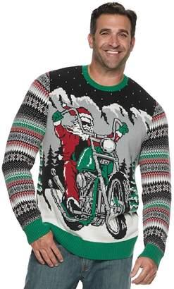 Big & Tall Motorcycle Santa Light-Up Christmas Sweater