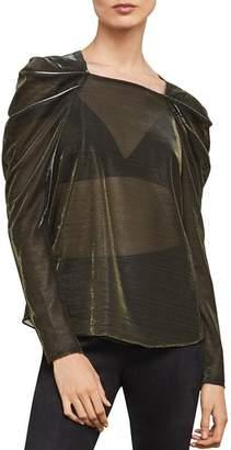 BCBGMAXAZRIA Metallic Draped-Shoulder Top