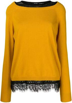 Twin-Set lace-hem fitted sweater