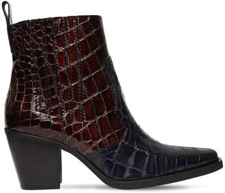 Ganni 70mm Callie Croc Embossed Leather Boots