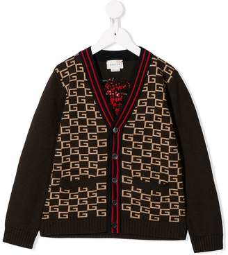 Gucci Kids square G cardigan with panther