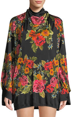 Free People Tie-Back Floral-Print Mini Dress