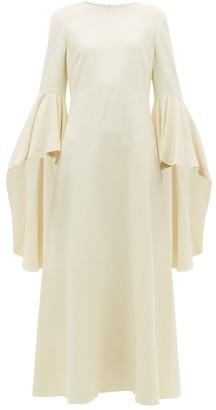 Giambattista Valli Fluted Sleeve Crepe Maxi Dress - Womens - White