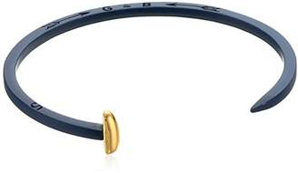 Giles and Brother Navy Rubberized Tiny Railroad Spike Cuff with Gold Finished Nail Head Cuff Bracelet $110 thestylecure.com