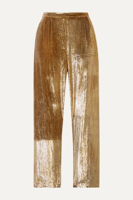 Mes Demoiselles Holmes Cropped Metallic Velvet Straight-leg Pants - Gold