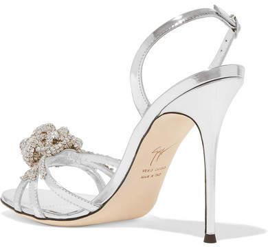 Giuseppe Zanotti Mistico Crystal-embellished Metallic Leather Sandals - Silver