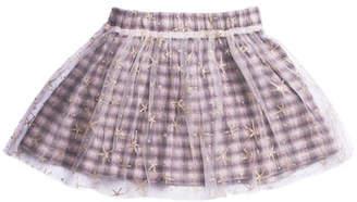 Imoga Woven Plaid Skirt w/ Mesh Star Overlay, Size 8-14