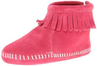 Minnetonka Velcro Back Flap Bootie, Unisex Baby Crawling Baby Shoes,4 Child UK (20 EU)