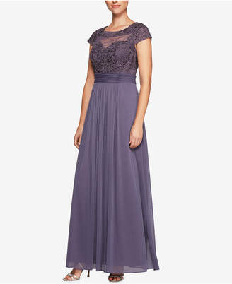Alex Evenings Embroidered Mesh Gown