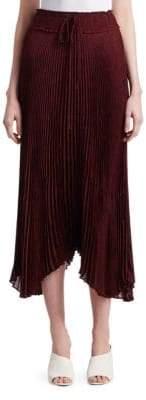 A.L.C. Maya Tie Waist Pleated Midi Skirt