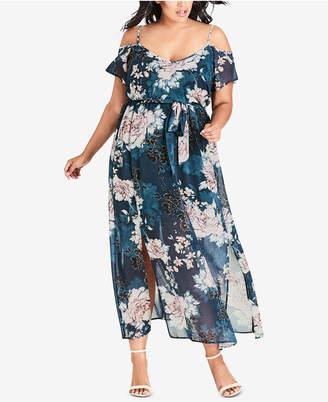 City Chic Plus Size Cold-Shoulder Maxi Dress