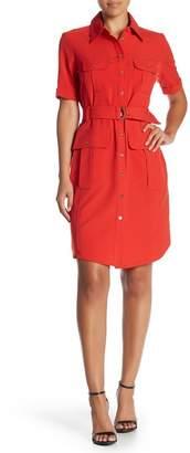 Sharagano Belted Short Sleeve Shirt Dress