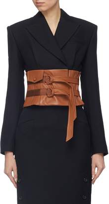 Situationist Leather corset belt wool blend blazer
