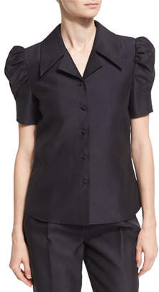 Co Puffed-Sleeve Wide-Collar Shirt, Black