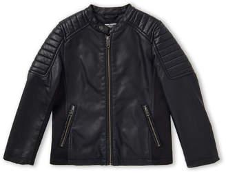 Bomboogie (Boys 4-7) Black Full-Zip Faux Leather Jacket