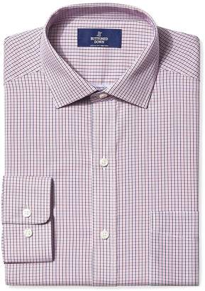 Buttoned Down Men's Classic Fit Spread-Collar Small Check Non-Iron Dress Shirt