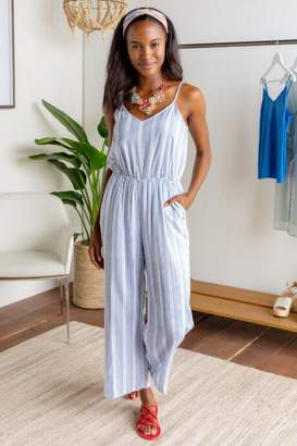 francesca's Debora Striped Jumpsuit - Khaki