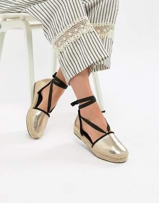Glamorous Gold Ankle Tie Flatform Espadrille