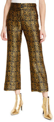 Double J Hendrix High-Rise Jacquard Trouser Pants