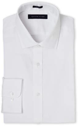 Tommy Hilfiger White Tonal Check Slim Fit Dress Shirt