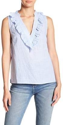 Lumiere V-Neck Stripe Ruffle Trim Tank Top